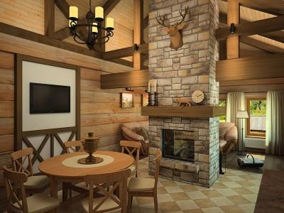 дизайн интерьера деревянного дома шале