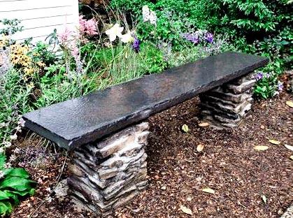 каменная садовая скамейка