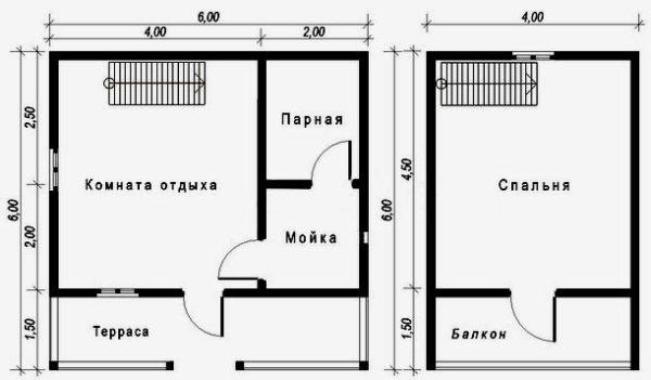 планировка каркасной бани
