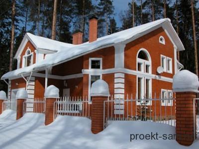 кирпичный дом зимой