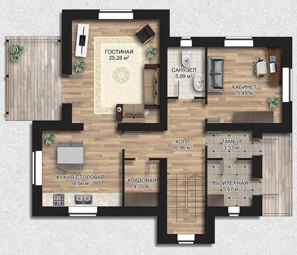 Площадь комнат в трехкомнатной квартире