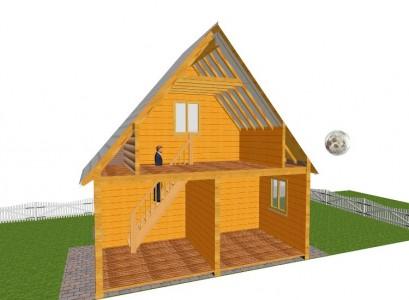 конструкция деревянного дачного дома с мансардой