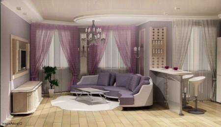 планировка кухни. совмещенной с гостиной с мебелью