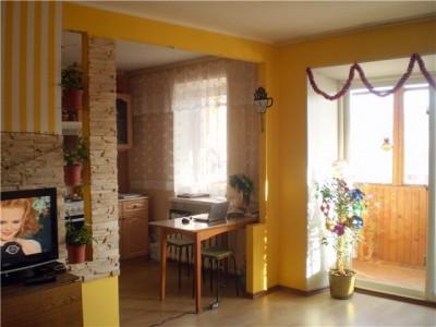 маленькая кухня, совмещенная с гостиной