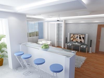 барная стойка делит кухню и гостиную