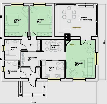 план коттеджа кухня ванна