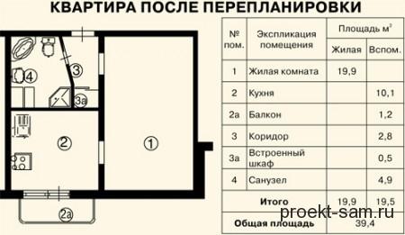однокомнатная квартира в панельном доме после перепланировки