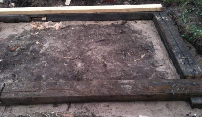 Фундамент своими руками из деревянных шпал 17