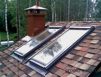 мансардная крыша с окнами