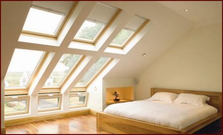 большие мансардные окна на крыше