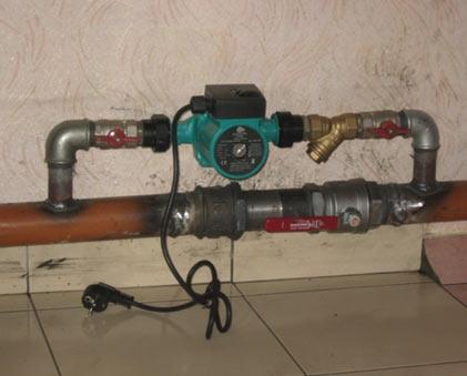 монтаж насоса отопления