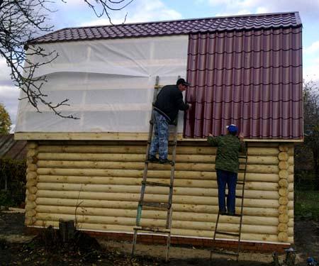 монтаж крыши для бани