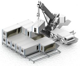 монтаж блоков модулей здания
