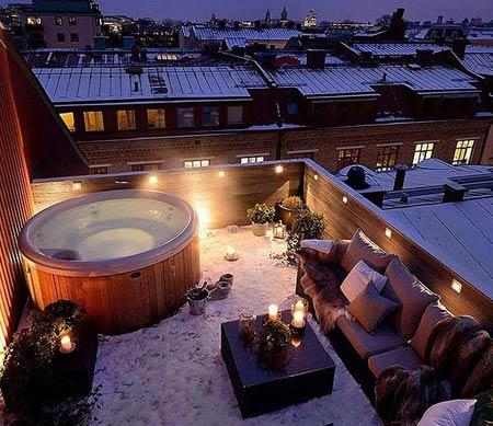 надувной бассейн на крыше