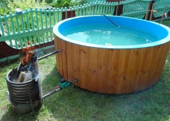 Водонагреватель на дровах для каркасного бассейна