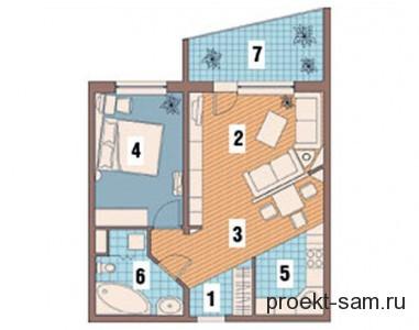 однокомнатная квартира с лоджией после перепланировки