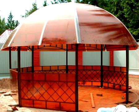 Как покрыть крышу беседки поликарбонатом