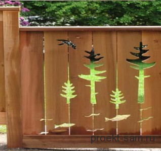оригинальный деревянный забор