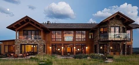панорамные окна деревянный коттедж
