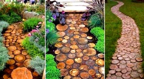 садовая дорожка из пеньков