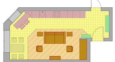 перенос гостиной в кухонную зону