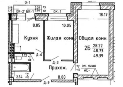 план переноса кухни в комнату