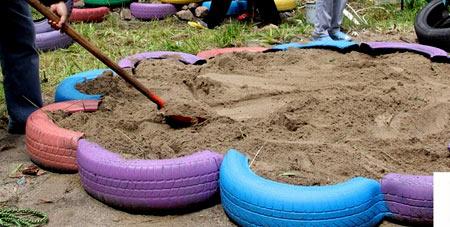 засыпка песка в песочницу