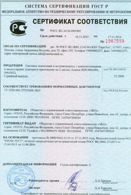 сертификат соответствия забивных столбов