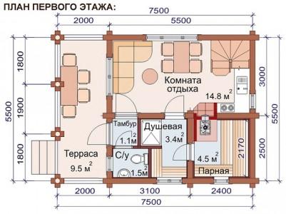 план 1 этажа бани