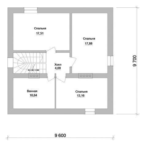 план дома с мансардой 9 на 9