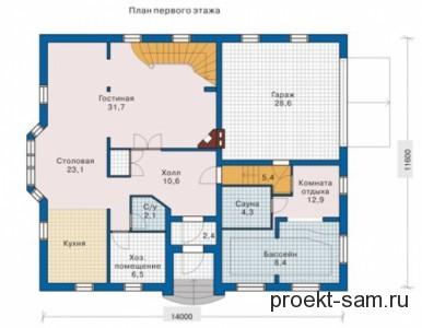 план расположения бассейна на 1-м этаже дома