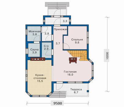 план 1 этажа дома 10x10