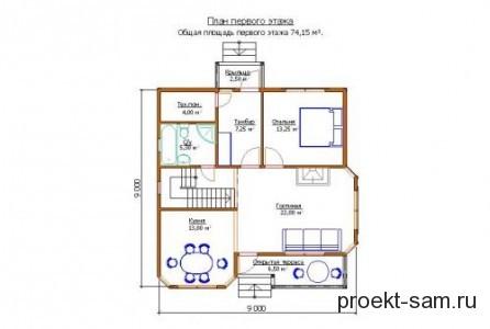 план 1-го этажа дома с мансардой 9x9