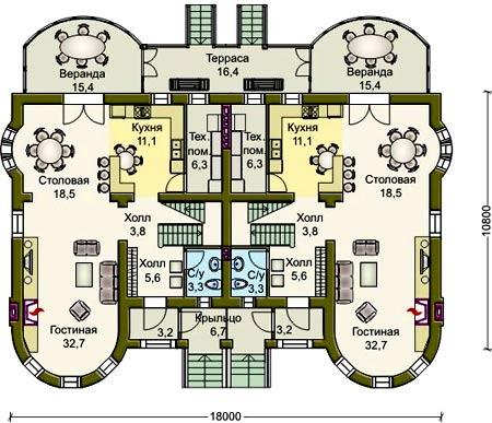 планировка дома с башнями