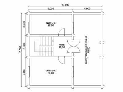 план 2 этажа дома 10 на 10