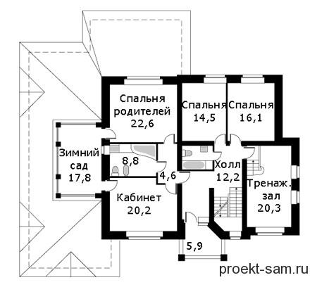 план 2-го этажа дома с бассейном и тренажерным залом