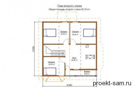 план 2-го этажа дома с мансардой 9x9