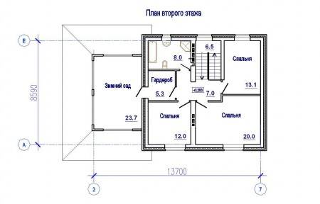 план 2-го этажа дома с зимним садом