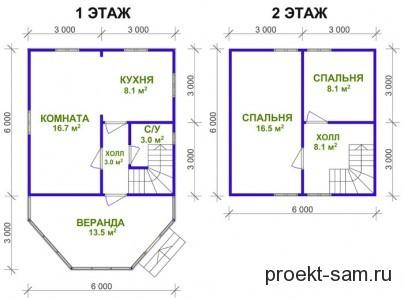 план 2-х этажного дачного домика 6x9