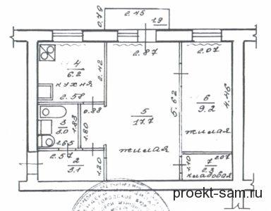 план 2-х комнатной квартиры малосемейки