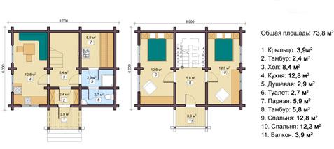 планировка двухэтажной бани 6 на 8