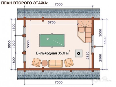 план 2 этажа бани 5x7 с бильярдной