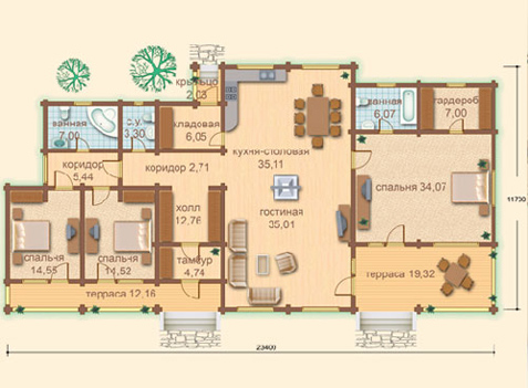 план большого одноэтажного дома