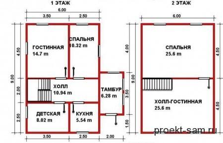 планировка дачного дома 6x9