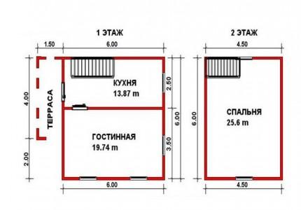 план дачного дома 6x6 с небольшой террасой