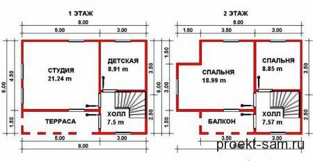 план дачного дома 6x8