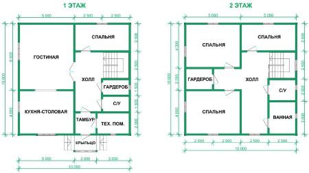 план двухэтажного дома 10х10