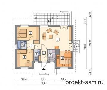 план одноэтажного дома с двумя террасами