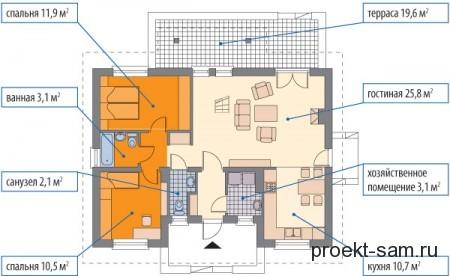 план трехкомнатного частного дома