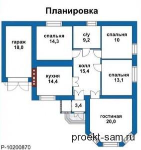 план четырехкомнатного частного дома